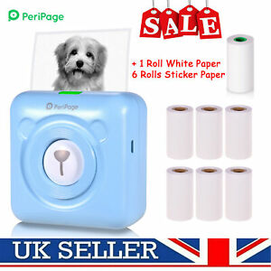 PeriPage Mini Pocket Printer Thermal Photo Label BT With 6 Rolls Sticker Paper