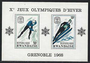 1968 Rwanda Scott #249c - Grenoble 10th Winter Olympics Souvenir Sheet - MNH