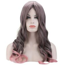 Gradient Gray Pink Curly Full Long Hair Cosplay Party Ombre Wigs Costume SUS