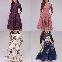 Summer Women A-Line Dress Tunic Long Short Sleeve Floral Print Mode