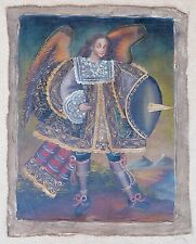 "Religious Cusco Peruvian Folk Art Oil Painting 11"" x 15"" Royal Angel by Lake"