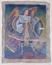 "Religious Cusco Peruvian Folk Art Oil Painting 11"" x 15"" Royal Angel by Lake"