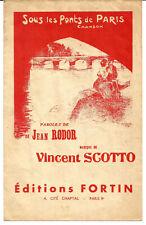 """PARTITION """"Sous les ponts de Paris"""" de Vincent Scotto et Jean Rodor."""