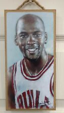 "MICHAEL JORDAN CHICAGO BULLS WOOD SIGN 5""X10"" WALL DECOR WITH HANGING ROPE"