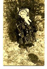 Little Girl Outside in Winter Fur Coat-Cap-RPPC-Vintage Real Photo Postcard
