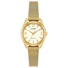 Citizen Eco-Drive Women's LTR Gold-Tone Mesh Bracelet 27mm Watch EM0682-58P