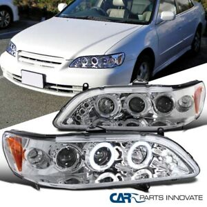 For Honda 98-02 Accord 2/4Dr Clear LED Halo Projector Headlights Driving Lamps