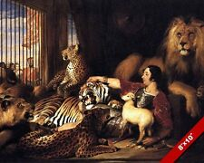 ISAAC & ANIMALS MAN IN LION BIG CAT CAGE LAMB PAINTING ART REAL CANVAS PRINT