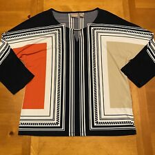 Chico's Top Blouse Shirt Size 0 Aztec Print Allover Print 3/4 Sleeve