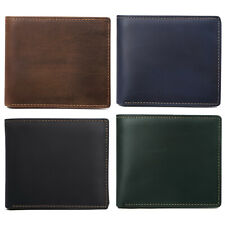 Men's Crazy Horse Leather ID Window Multi-Currency Compact Bifold Wallet
