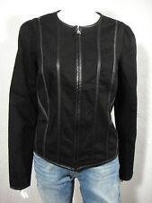 RALPH LAUREN Faux-Leather-Trim Denim Jacket Black size 10
