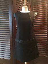 VIVIENNE TAM  Black Olympia Sheath Dress Size 8 LBD Faux Leather Trim Cap Sleeve