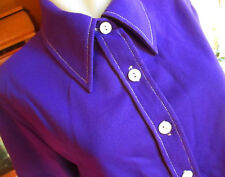LARGE True Vtg 70s ROYAL PURPLE STRETCH KNIT POLYESTER MOD COLLAR JACKET