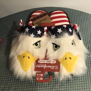 Dearfoams Unisex Americana 🦅🇺🇸Closed Toe Scuff slippers Women's 7-8/Men's 5-6