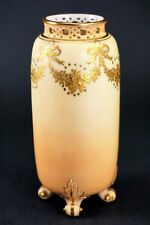 Royal Worcester Blush Reticulated Hand Painted Gold Porcelain G42 Vase - RARE