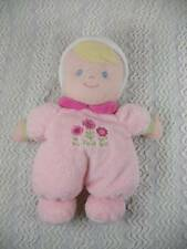 Carters Just One Year Pink Baby Lovey Plush Doll Blonde/Blue Eye My First Doll