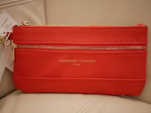 NWT WOMEN'S ADRIENNE VITTADINI WRISTLET WALLET LEATHER RED ZIP COIN PURSE RFID
