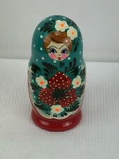 Russian Nesting Dolls 5 pc Set Hand Painted Strawberry