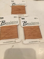 THE BEAD SMITH-THREAD STRING NECKLACE-#8 NYLON-MADE IN USA-LOT OF 3-TAN