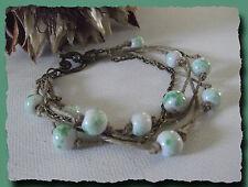 Bracelet lin & bronze perles céramique blanc et vert  necklace fête des mères