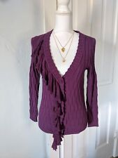Little Yellow Bird Anthropologie Size Medium Ruffle Detail Cardigan Plum Sweater