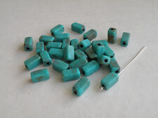 (40) 10.75x5mm Vintage Turquoise Acrylic Rectangle Beads NOS