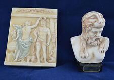 Heracles bust plus Hercules Hero with muse Urania Sculpture Relief sculpture