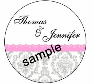SILVER DAMASK WITH PINK TRIM DESIGN #99 HERSHEY KISS STICKER LABELS