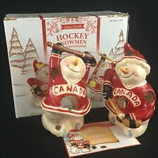2 Hockey Snowmen Tealight Holders by Blue Sky Clayworks Canada Heather Goldminc