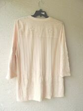 SOFT SURROUNDINGS SOFT PINK FLORAL EMBROIDERED JERSEY KNIT TUNIC SIZE 1X