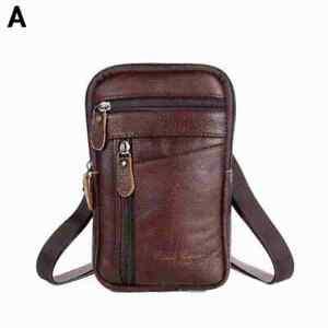 Men Real Leather Fashion Phone Pouch Belt Bag Shoulder Pack Crossbody Waist G8I8