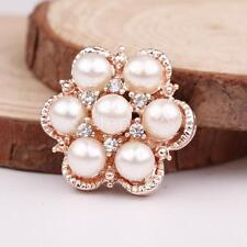 10 Rhinestone Pearl Flat Back Buttons Embellishments For Scrapbooking Craft