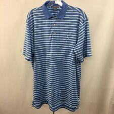 Peter Millar Summer Comfort Mens M Blue White Stripes Stretch Polo Golf Shirt