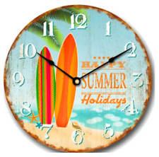 Reloj de pared 30cm con fijación en madera PLAYA DISEÑO Happy verano Holidays
