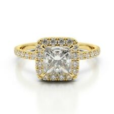 1.68 Ct Princess Solitaire Diamond Engagement Ring 14K Real Yellow Gold Size 6 7