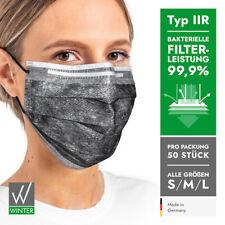 Medizinische Einweg OP-Masken 3-lagig Typ IIR DIN EN14683 (99,99% BFE) – schwarz