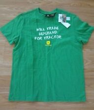 Womens SIZE SMALL 4/6 John Deere WILL TRADE HUSBAND FOR TRACTOR T-SHIRT New