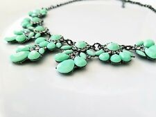 New Crystal Acrylic Flower Turquoise Bib Statement Necklace