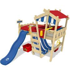 """WICKEY Kinderbett Hochbett """"CrAzY Hutty"""" Spielbett mit Wellenrutsche - 90x200 cm"""