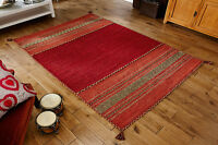 MODERN RED Fringed Cotton KILIM Handwoven DHURRIE Rug Small 60x90cm MAT -60% OFF