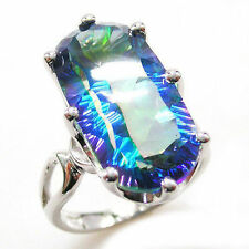 10ct Fabulous Luxury Genuine Blue Rainbow Topaz & Sterling Silver Ring Size 8