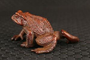 chinese old boxwood handmade carving frog statue figure Tea Pet netsuke