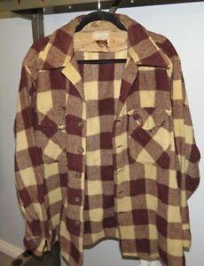 vintage lumberjack jacket mens chore coat hunting antique wool plaid lined brown