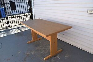 Modern Wood Rectangle Trestle Base Dinning Table Made in USSR