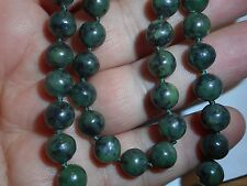 "Vintage Green 7mm Jade NECKLACE Choker 18"" Unused Old Stock Knotted"
