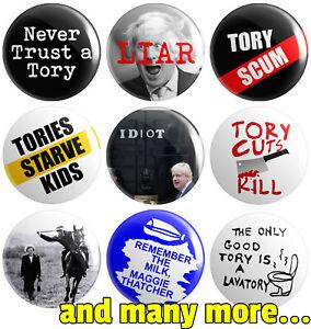Anti Tory - Various Designs - BUTTON PIN BADGES 25mm 1 INCH | Boris Thatcher