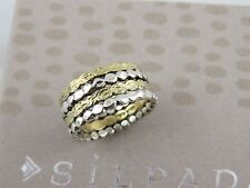 """NIB SILPADA Textured Sterling Silver Brass """"STACKED METALS"""" Band Ring R3477 sz 6"""