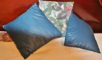 """VTG Set of 3 Decorative Throw Pillows-1 Floral Print, 2 Solid Navy Blue-11 1/2"""""""