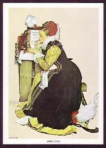 1970s Vintage Young Lady With Country Roosters Norman Rockwell Art Print