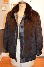 black mink fur & leather coat jacket